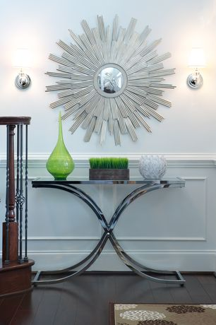Contemporary Entryway with Standard height, Wall sconce, Hardwood floors, Wainscotting
