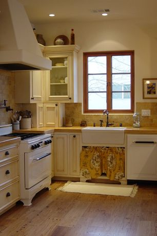 Country Kitchen with Hickory Hardware Deco 96mm Oil-Rubbed Bronze Cup Pull, Custom hood, Stone Tile, Farmhouse sink