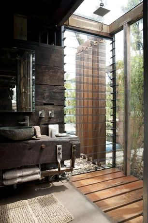 Rustic Full Bathroom with Rain shower, Wood counters, Shower, Standard height, Full Bath, Lf stone custom stone sink