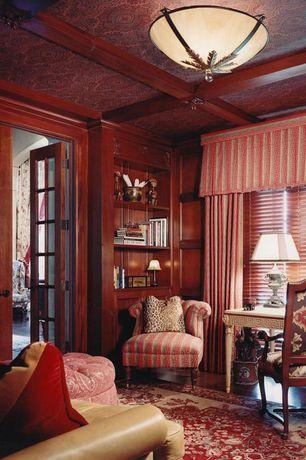 Traditional Home Office with Built-in bookshelf, Exposed beam, Hardwood floors, French doors, Crown molding, flush light