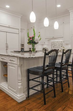 """Traditional Kitchen with Custom cabinets - square raised panel in dove white, Cottage 26"""" swivel bar stool with cushion"""