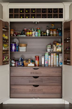 Traditional Pantry with Built-in bookshelf, Hardwood floors