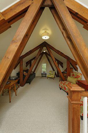 Craftsman Attic with Standard height, Paint 1, Columns, Casement, Exposed beam, Art desk, flush light, Carpet, Ceiling fan