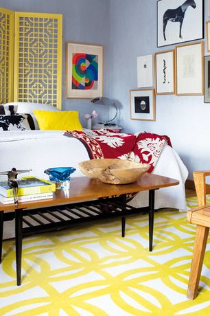 Eclectic Guest Bedroom with Hardwood floors, Gallery wall, Pantone Universe Matrix Cream Geometric Rug, Paint 1, High ceiling