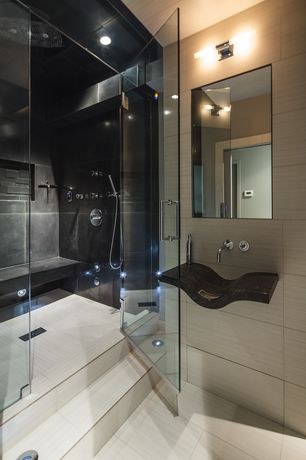 Contemporary Master Bathroom with Wall mounted sink, Handheld showerhead, Restoration Hardware Cade Double Sconce