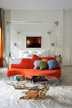 Eclectic Master Bedroom with Carpet, Hammary Hidden Treasures Root Ball Coffee Table, Wall sconce