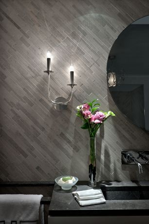 Contemporary Master Bathroom with Hinkley lighting splendor 2 light wall sconce, Nameeks spillo wall mounted faucet