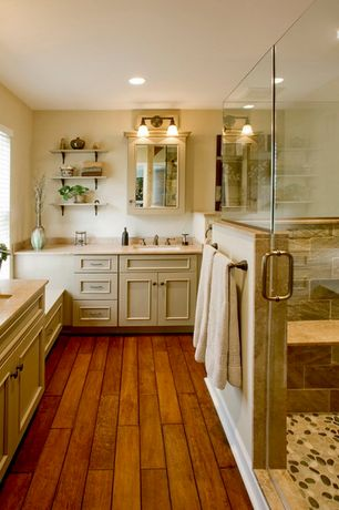 Country Master Bathroom with Undermount sink, Flat panel cabinets, Flush, Master bathroom, Hardwood floors, Limestone