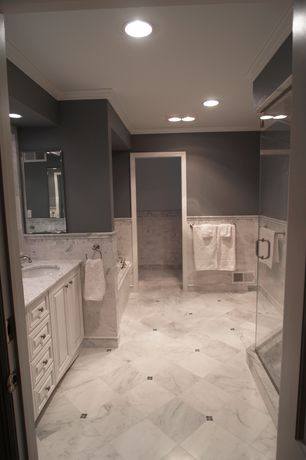 Traditional Master Bathroom with frameless showerdoor, Complex marble counters, Master bathroom, Crown molding, Raised panel