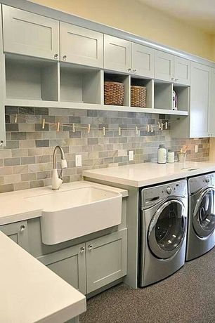 Country Laundry Room with Rohl - rrc3018wh shaws apron front sink, Slate subway tile, Built-in bookshelf, Farmhouse sink
