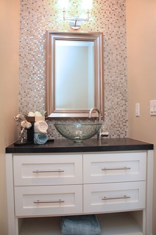Modern Powder Room with Flush, Powder room, Soapstone counters, Flat panel cabinets, Daltile Marvel Whimsical Mosaic Tile