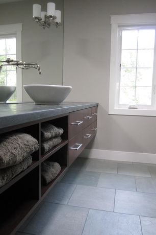 Contemporary Full Bathroom with Vessel sink, Soapstone counters, European Cabinets, Flush