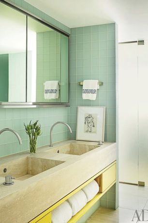 Contemporary Master Bathroom with Double sink, Undermount sink, Wall Tiles, Daltile Circa Glass Wall Tile, Master bathroom