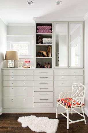 Contemporary Closet with picture window, Crown molding, Casement, Hardwood floors, Custom built-ins, Standard height, Paint