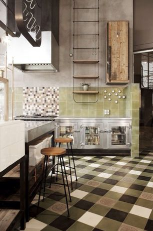 """Eclectic Kitchen with Paint, 6"""" square tile - sweet pea, One-wall, Wall Hood, full backsplash, Stone Tile, Pendant light"""