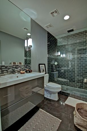 Contemporary 3/4 Bathroom with Ceramic Tile, Corian counters, Undermount sink, European Cabinets, Flush, frameless showerdoor