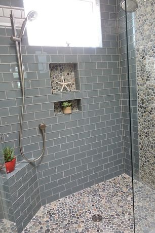 "Contemporary Full Bathroom with Daltile glass mosaics top hat 3x6 tile, Contempo Blue Gray Glass 3"" x 6"" Tile, Full Bath"