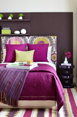 "Contemporary Guest Bedroom with Plum Pillow Covers, Multicolored Throw w/ Pom-Pom Fringe, 50"" x 60"", Standard height, Paint"