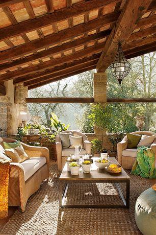 Craftsman Porch with Wrap around porch, Raised beds