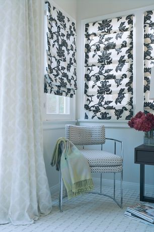 Eclectic Guest Bedroom with Roman shades