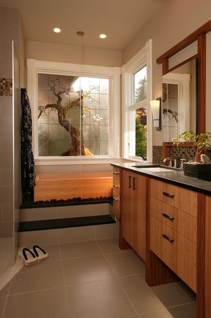 Asian Master Bathroom with Soapstone counters, Daltile Soiree Nevis Mosaic Tile, Stained glass window, Undermount sink