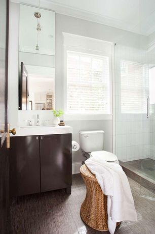 Contemporary 3/4 Bathroom with Pendant light, Undermount sink, Flush, Corian counters, specialty door, frameless showerdoor