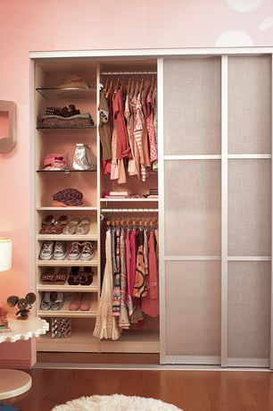 Contemporary Closet with TRUporte Grand 2030 Series 3-Lite Tempered Frosted Glass White Composite Interior Sliding Door