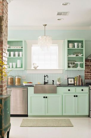 Cottage Kitchen with Pendant light, Paint 1, dishwasher, Area rug, Crown molding, One-wall, Farmhouse sink, Paint 3, Casement