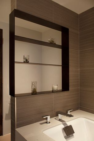 Contemporary Master Bathroom with Powder room, Pental Quartz - Eggshell, Built-in bookshelf, Corian counters, Undermount sink
