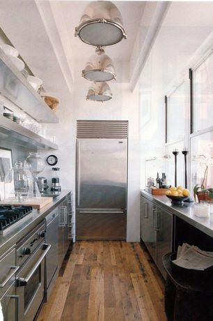 """Contemporary Kitchen with Stainless steel counters, Open shelving, flush light, Glass bell jar - 10"""" x 13"""", Flush, Galley"""