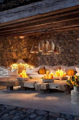 Mediterranean Porch with exterior tile floors