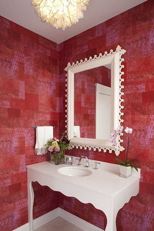 Eclectic Powder Room with Console sink, Chandelier, interior wallpaper, specialty door, Powder room