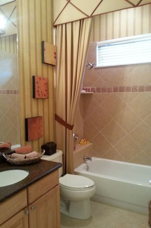 Traditional Full Bathroom with full backsplash, Full Bath, Bathtub, wall-mounted above mirror bathroom light, Undermount sink
