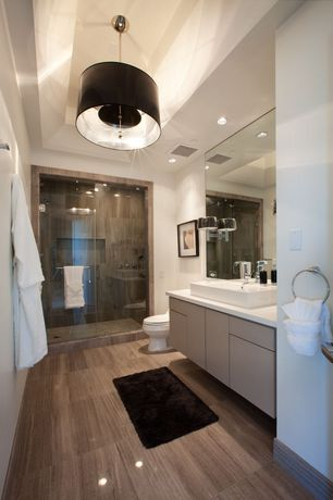 Modern Full Bathroom with Flush, European Cabinets, frameless showerdoor, Chelsea Wall Sconce, Penelope Pendant Light