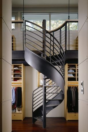 Contemporary Staircase with Metal staircase, Hardwood floors