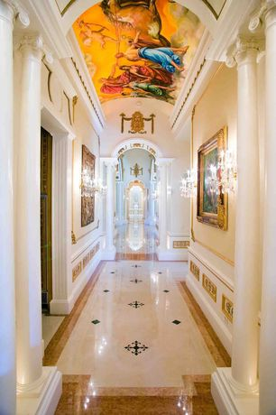 Traditional Hallway with Wall sconce, Cathedral ceiling, complex marble floors, Columns, Wainscotting