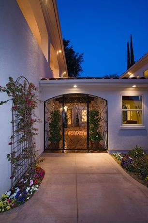 Mediterranean Front Door with Casement, Gate, Pathway, exterior stone floors