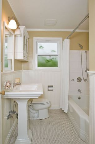 Cottage Full Bathroom with Standard height, Full Bath, Shower, Pedestal sink, double-hung window, tiled wall showerbath
