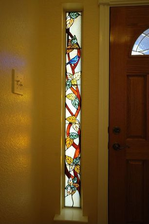 Craftsman Entryway with Hardwood floors, Stained glass window, Custom Stained Glass Sidelite