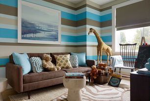 Contemporary Kids Bedroom with interior wallpaper, Hardwood floors, Trans ocean ravella brown zebra outdoor rug