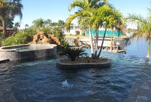 Tropical Swimming Pool with Raised beds, Pool with hot tub, Raised waterfall hot tub, specialty window, Pathway, Fountain