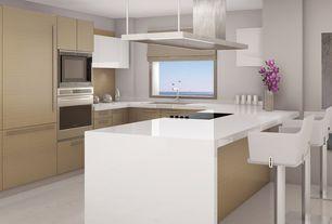 Modern Kitchen with European Cabinets, U-shaped, Flush, Walker Zanger Custom Thasos A Marble Slab Counter Tops, Breakfast bar