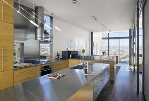 Modern Kitchen with Stainless Steel Full Sheet Countertop