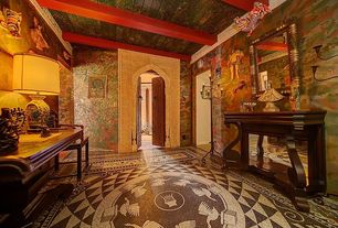 Eclectic Entryway with Mural, High ceiling, French doors, Exposed beam, Carpet