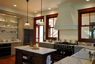 Traditional Kitchen with Custom hood, Randolph morris 33 x 20 fireclay kitchen sink - biscuit, Farmhouse sink, U-shaped
