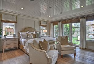 Traditional Master Bedroom with Hardwood floors, Grosgrain ribbon cordless roman shade, Painted wood panel ceiling