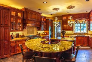 Traditional Kitchen with Island Falls Swivel Bar Stool, French doors, slate tile floors, Chandelier, Kitchen island, U-shaped