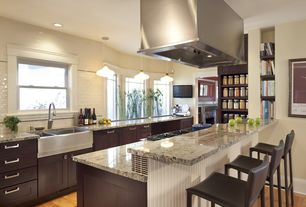 Contemporary Kitchen with Flush, Built-in bookshelf, Casement, electric cooktop, Breakfast bar, Simple granite counters