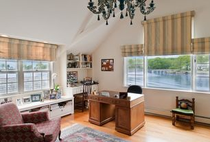 Traditional Home Office with Laminate floors, Built-in bookshelf, Chandelier, High ceiling