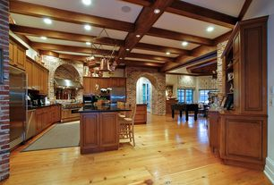 Country Kitchen with Exposed brick wall, Breakfast bar, Built-in speakers, Raised panel, High ceiling, Arched hallway